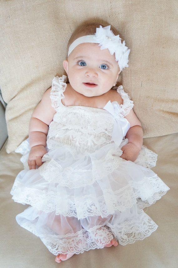 lace baptism dress white
