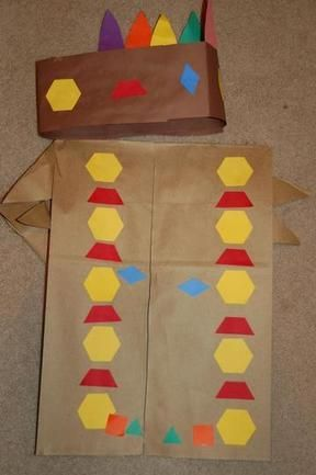 Native American outfit made with pattern block shapes November - pattern block template