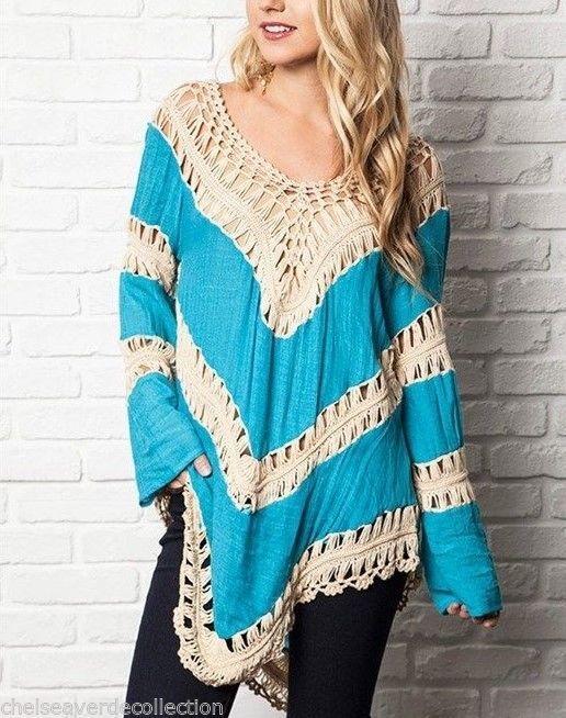 Chelsea Verde Desert Navy Dream Boho Cotton Crochet Blouse Shirt Top 647 XL | eBay