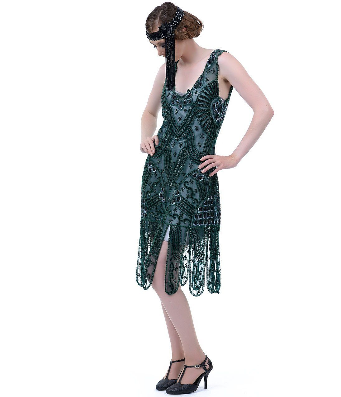 Unique Vintage 1920s Style Emerald Green Beaded Sinclair Flapper ...
