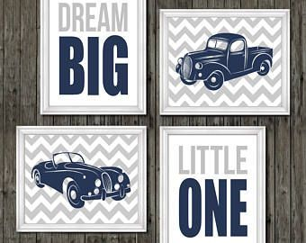 Vintage car and truck prints, vintage nursery, navy blue, gray, transportation n…,  #blue #…