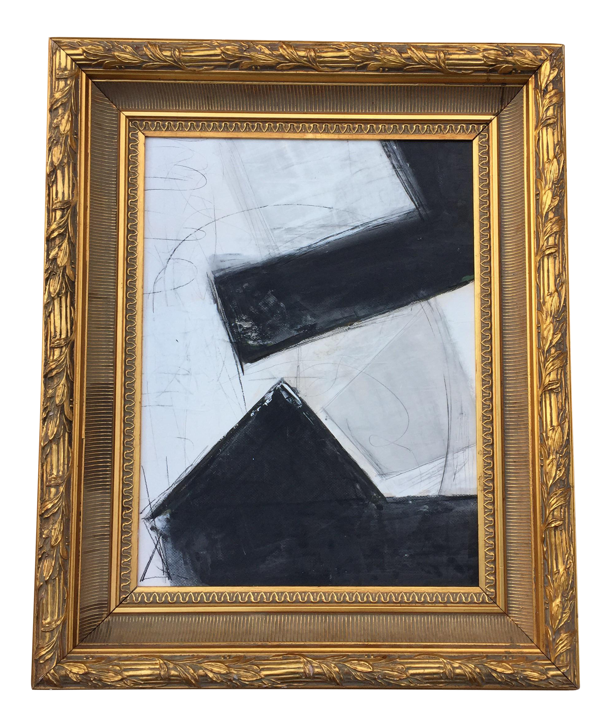 Abstract Black & White Painting in Gold Frame