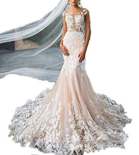 Fanciest Womens 2017 Lace Wedding Dresses for Bride Mermaid Bridal Gowns  White US12    Check this awesome product by going to the link at the image. bd3600f88