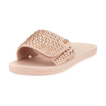 c941cfda6bc7 MK Embellished Fabric Slide Sandal by MICHAEL Michael Kors. MICHAEL Michael  Kors fabric sandal with stud embellishments. 0.5