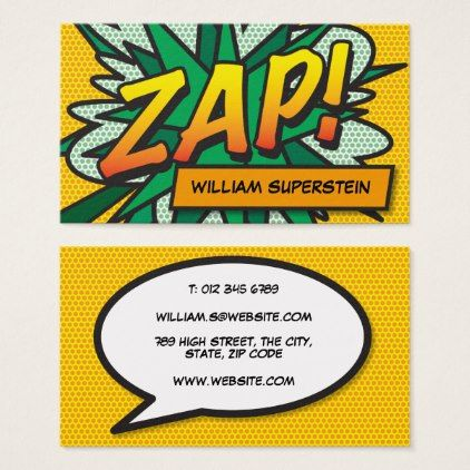 Personalised Pop Art Comic Book Zap Business Card Office Gifts Giftideas