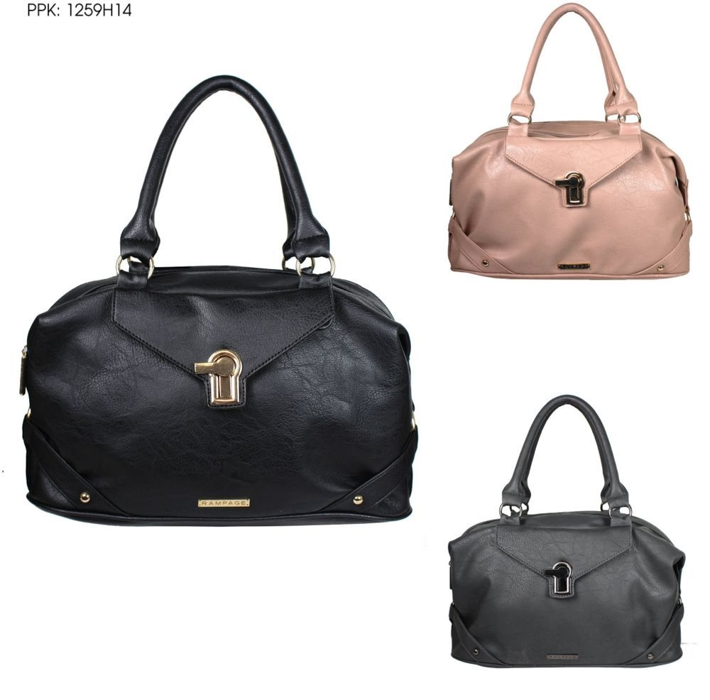 RAMPAGE Ladies Satchel Bag W/ Fold Over Flap and Metal Turnlock Accent RP1259