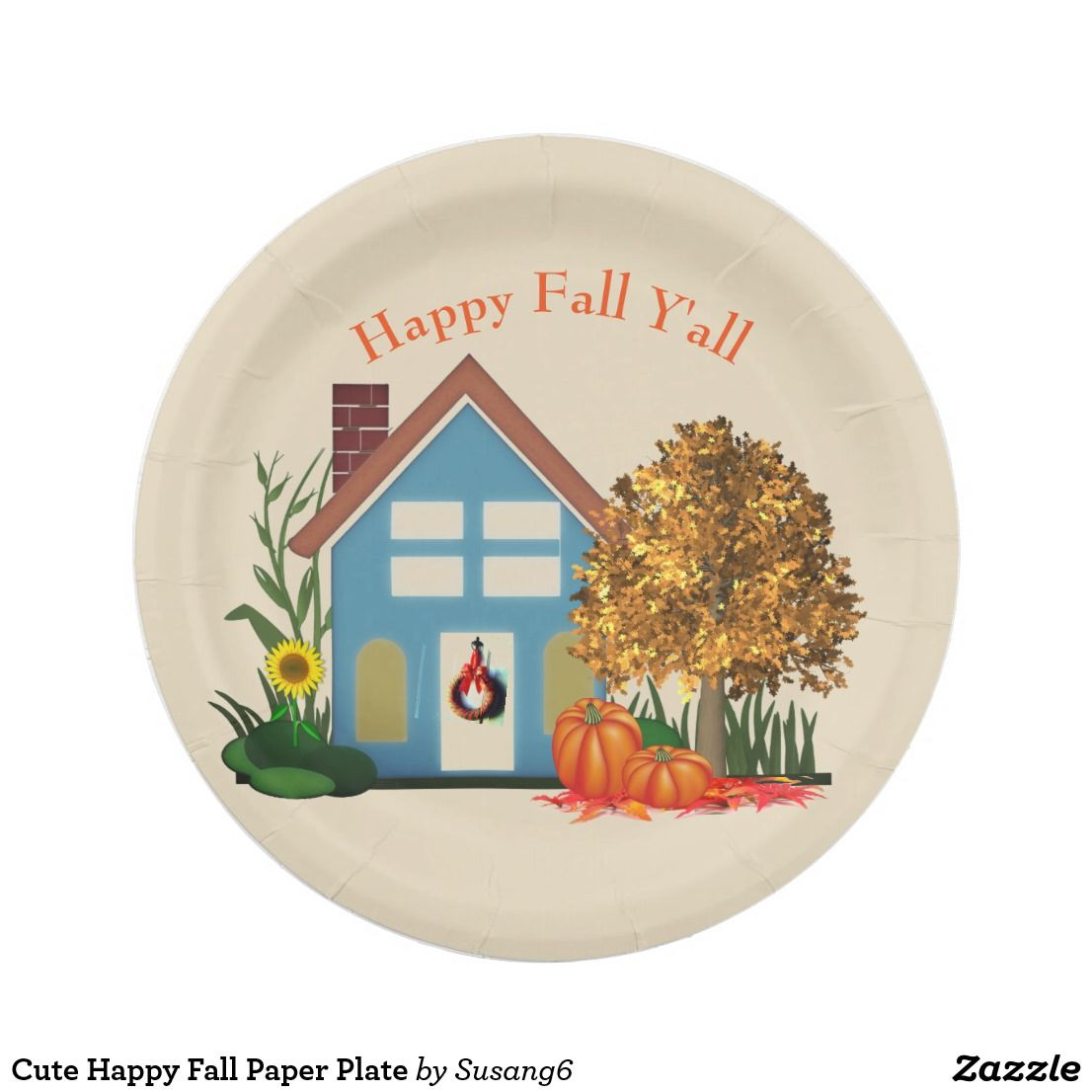 sc 1 st  Pinterest & Cute Happy Fall Paper Plate