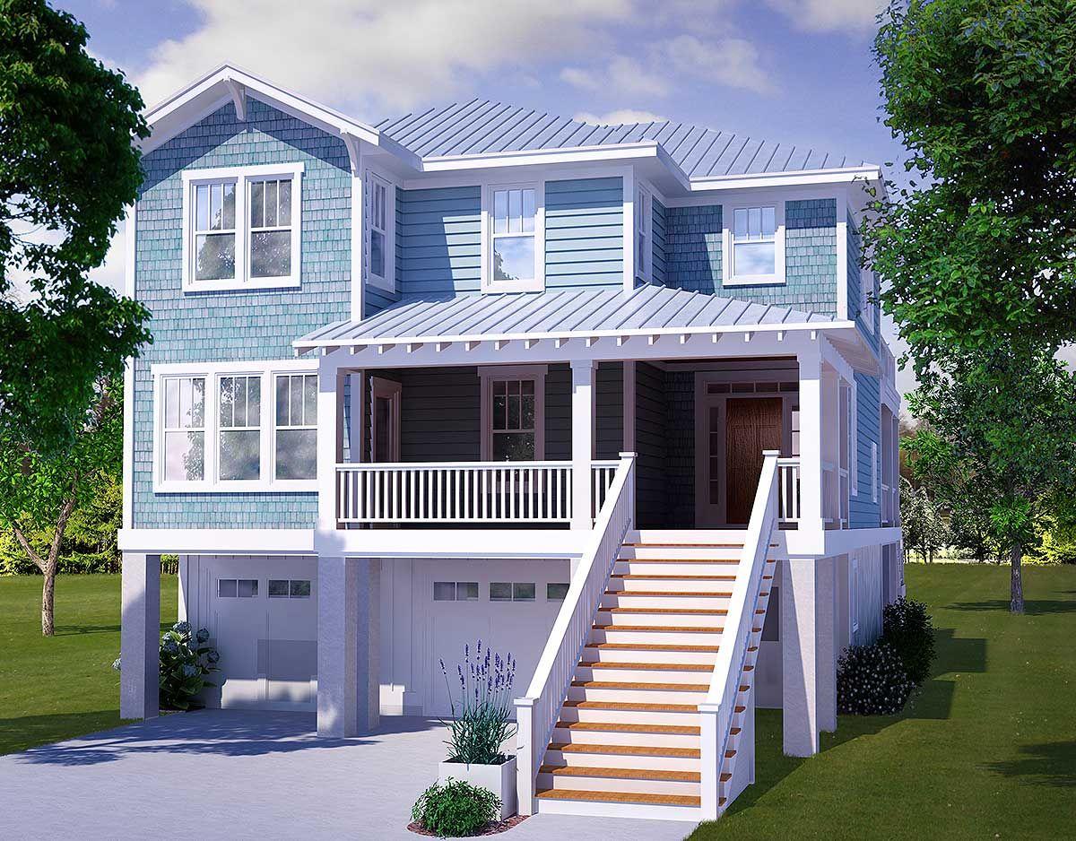 Beach House Plans with Garage Under