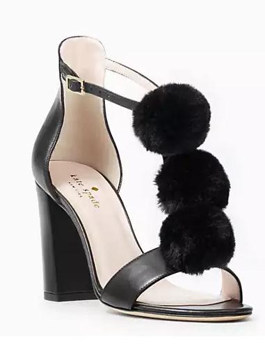 black pom pom kate spade heels