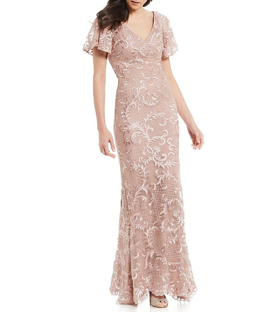 b4b5fe90619 Carmen Marc Valvo V-Neck Embroidered Gown in 2019