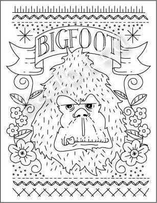 Bigfoot Hand Embroidery Sampler Pattern ($10 - Yikes, need to have ...