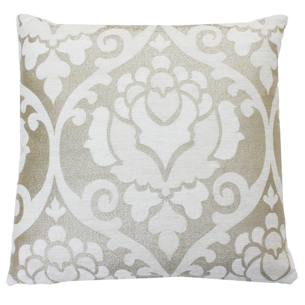 Beaded Damask Square Throw Pillow In