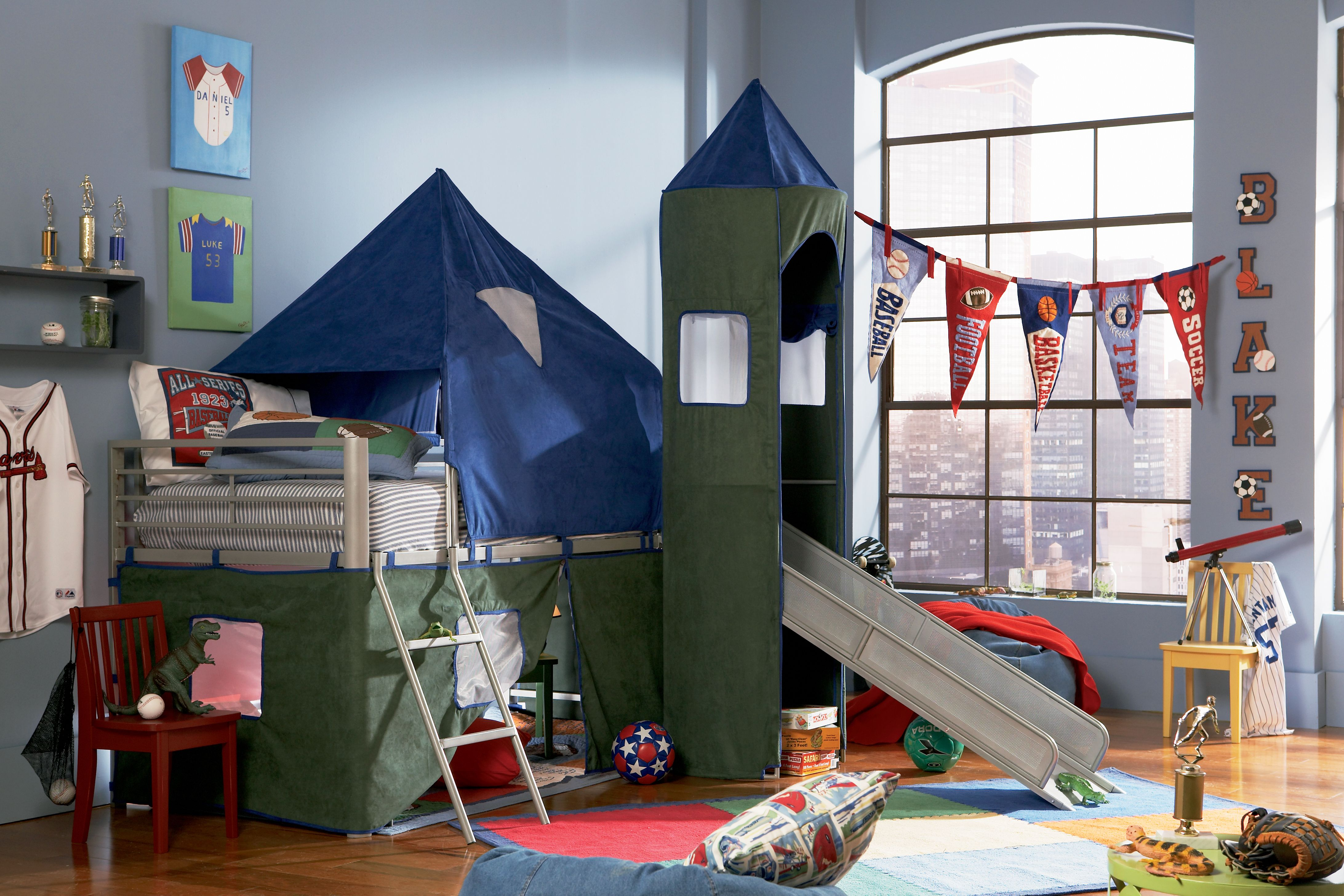 Boys Blue and Green Twin Tent Bunk Bed with Slide (With