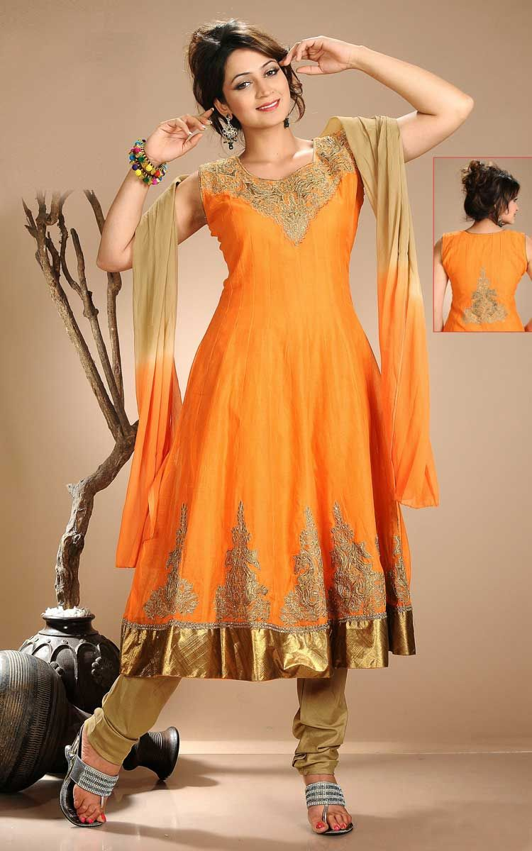 ORANGE & BEIGE CHANDERI COTTON ANARKALI SALWAR KAMEEZ - DIF 29751