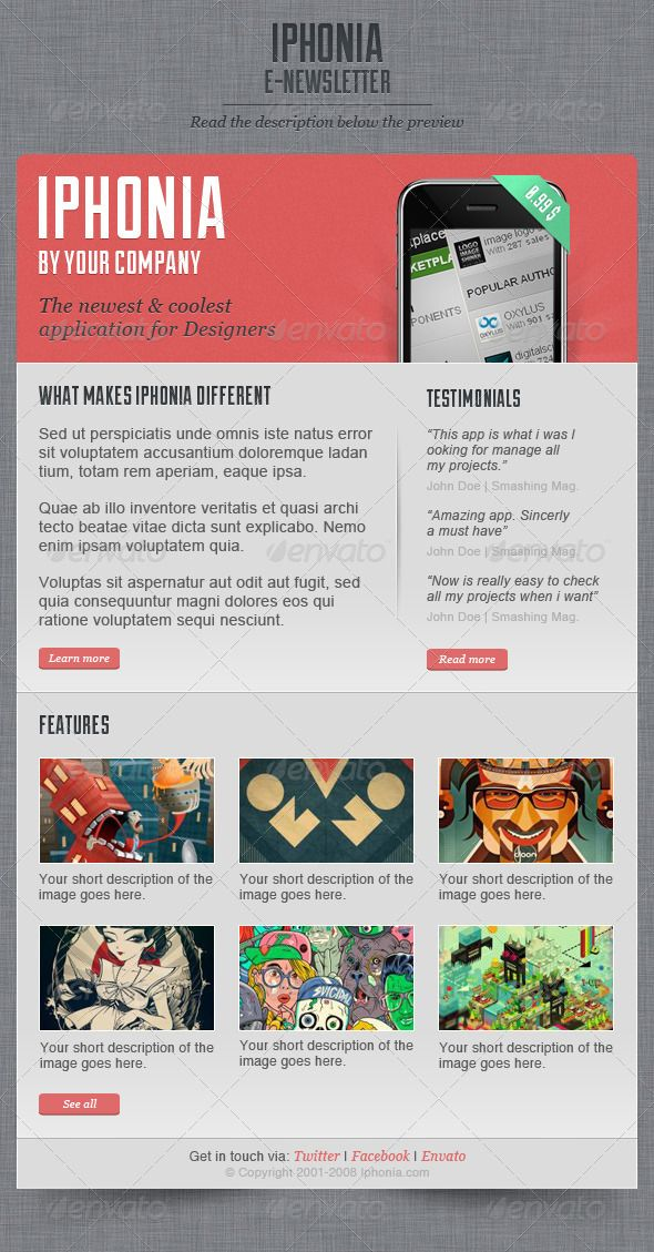 Iphonia Newsletter Template By Oscarvega Business Pinterest - Email brochure template