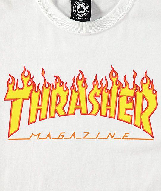 Thrasher Flame Logo White T Shirt Zumiez Thrasher Thrasher Flame Logo Sketches