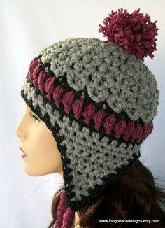 Free Crochet Ear Flap Patterns   Crochet Ear Flap Hat Pattern Aspen Highlands by longbeachdesigns