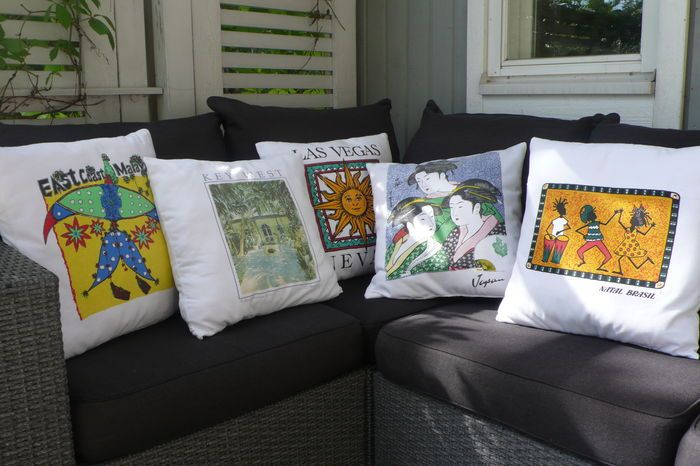 Old t-shirts into pillows