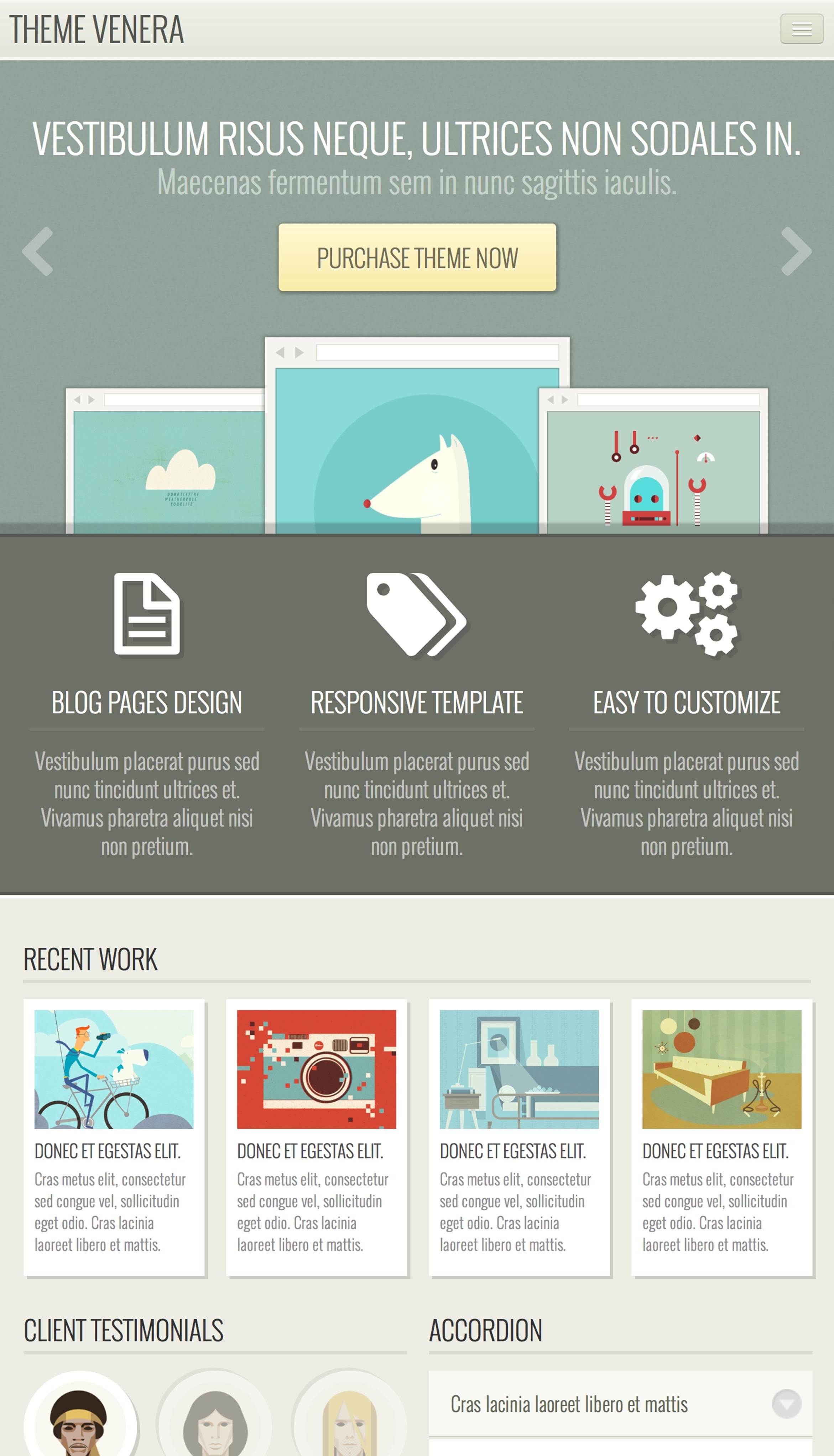 Venera - Responsive HTML Template - Retro colors | Infographies ...