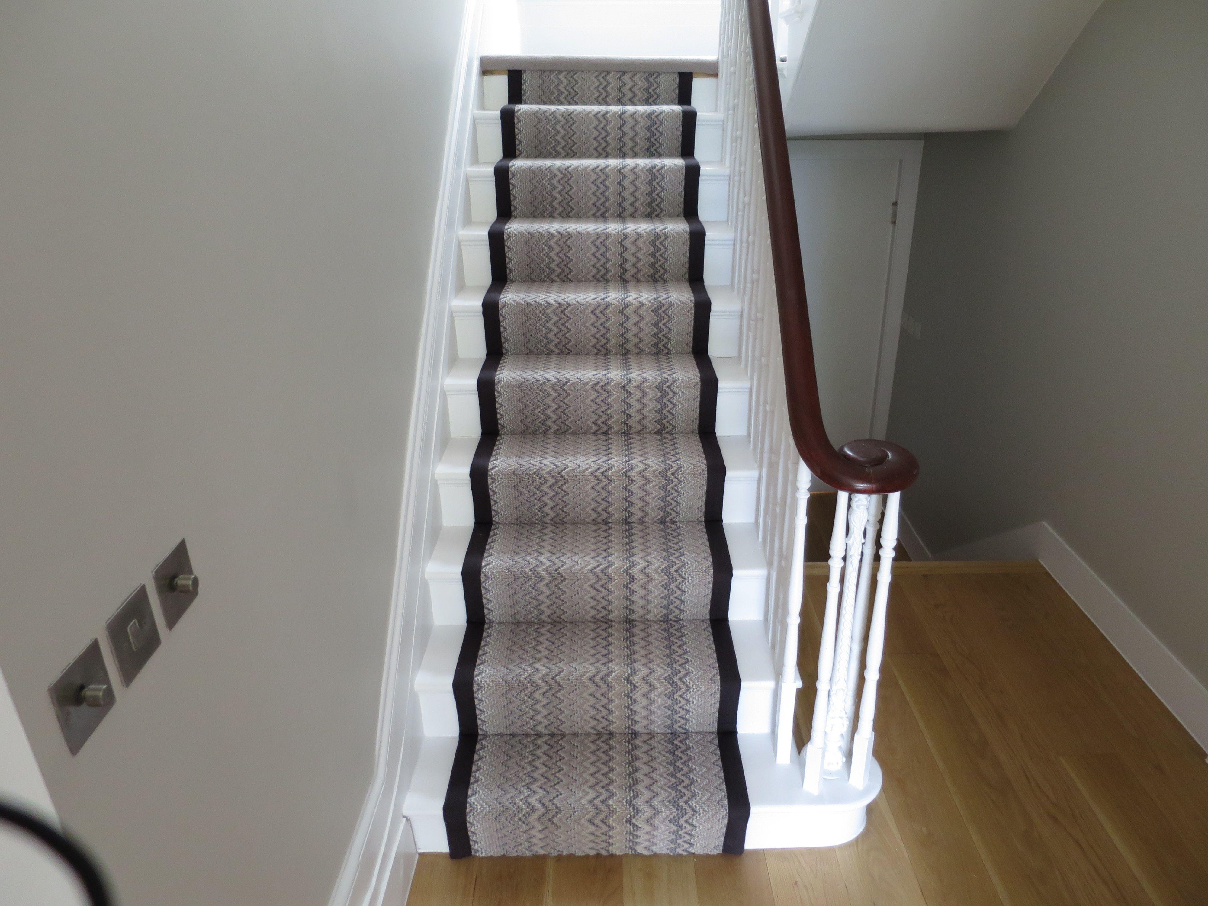 Grey Zig Zag Stripe Stair Runner With Black Binding By B Amp R