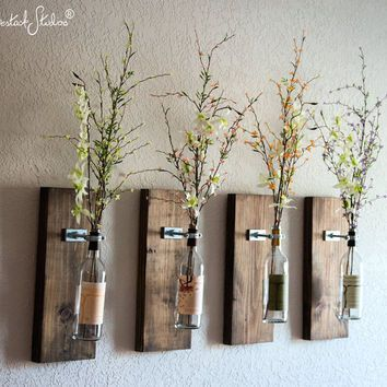 Rustic Wall Hangings wine bottle wall vase / set of four - rustic modern decorations