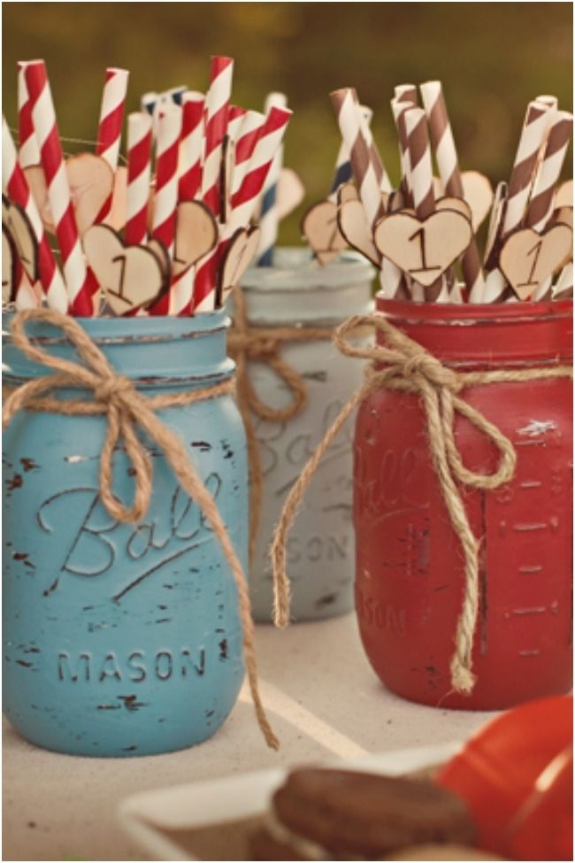 Chalk-painted mason jars Spaceships and Laser Beams boys birthday party ideas, printables, and decor