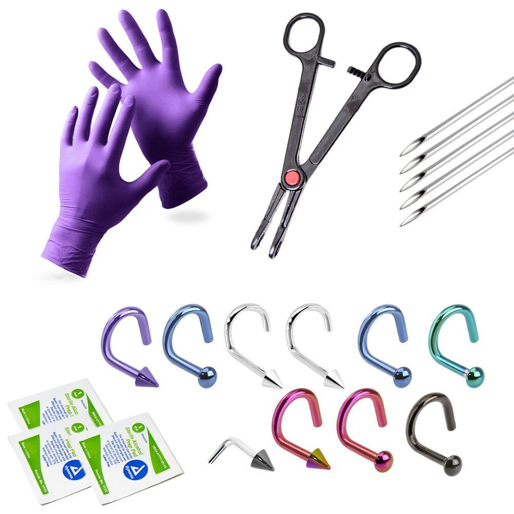 20 Piece Professional Nose Piercing Kit  #LionGothic