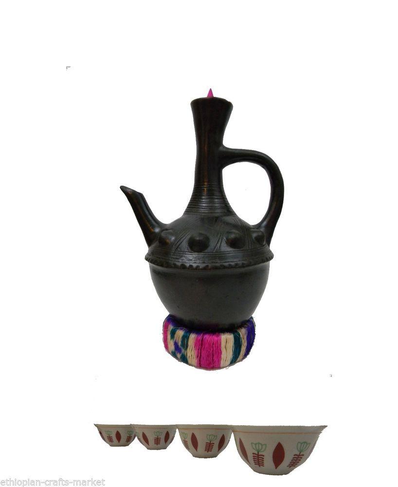 Ethiopian Traditional Clay Coffee Pot (Jebena) & 4 Ceramic Cups