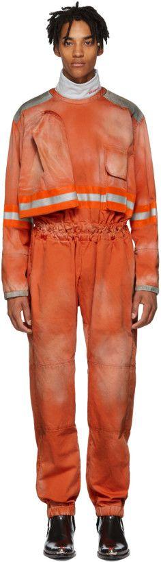 ae41e222fa52 Calvin Klein 205W39NYC - Orange Fireman Reverse Zip Jumpsuit ...