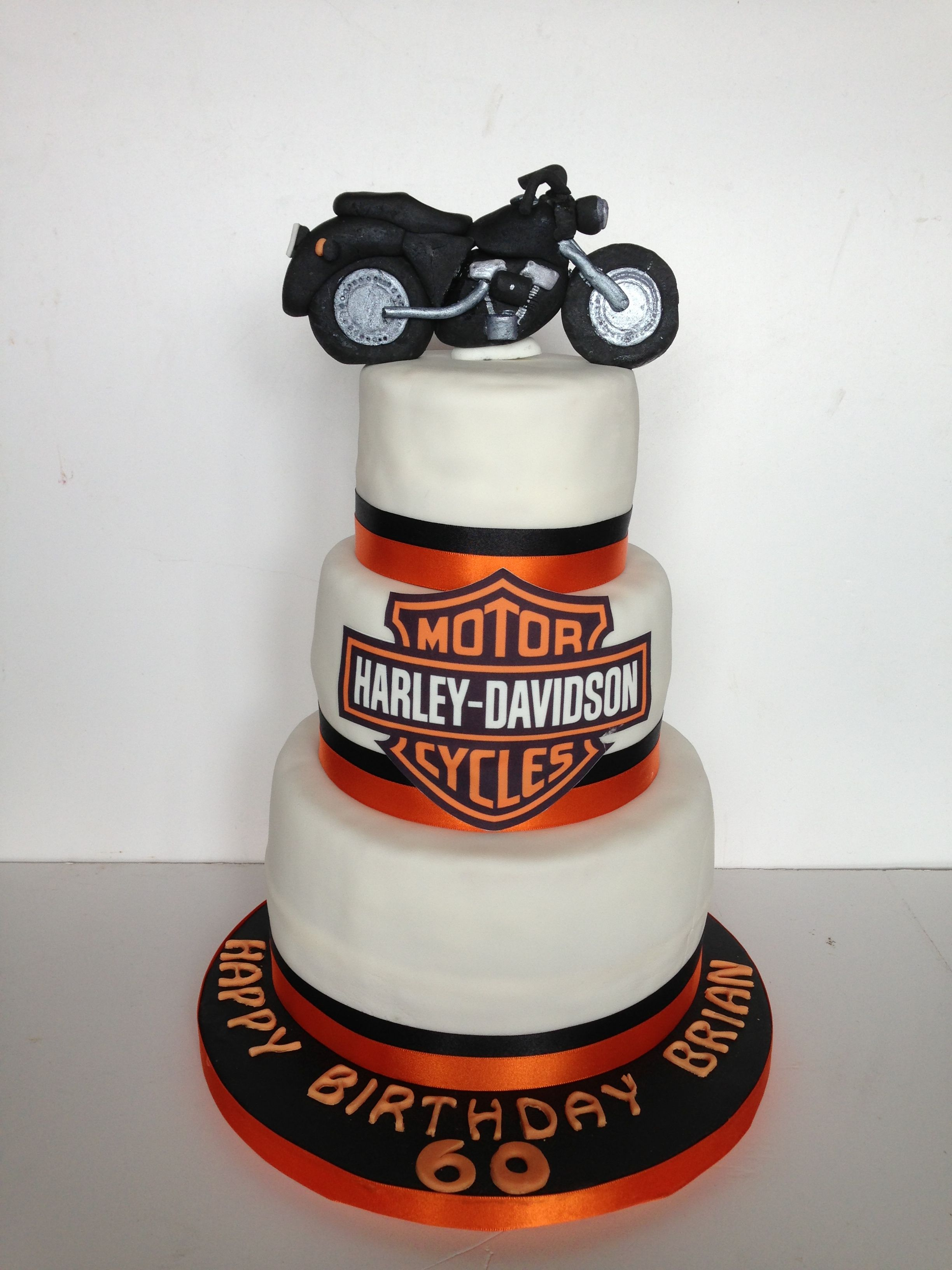 Astounding Harley Davidson Themed 60Th Birthday Cake With Images 60Th Funny Birthday Cards Online Necthendildamsfinfo