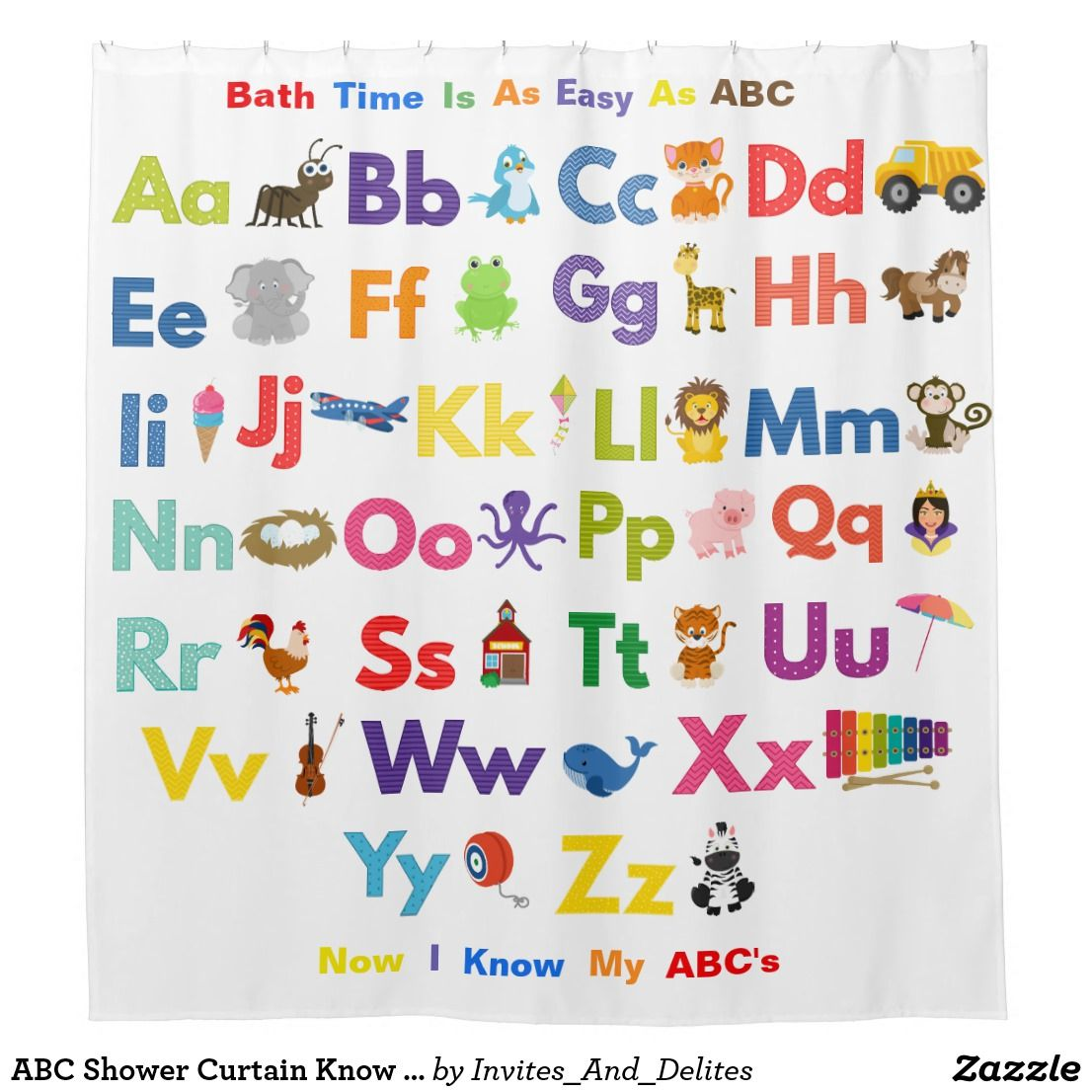 Abc Shower Curtain Know I Know My Abc S Characters Zazzle Com