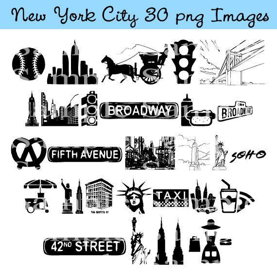 New York City Clip Art Instant Download Manhattan Taxi Cab Etsy New York Theme New York Theme Party New York City