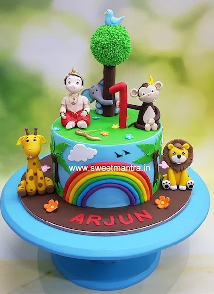 Animals Jungle Theme Customised Cake For Arjun S 1st Birthday In Pune In 2020 Wedding Cake Options Wedding Cake Centerpieces Black Wedding Cakes