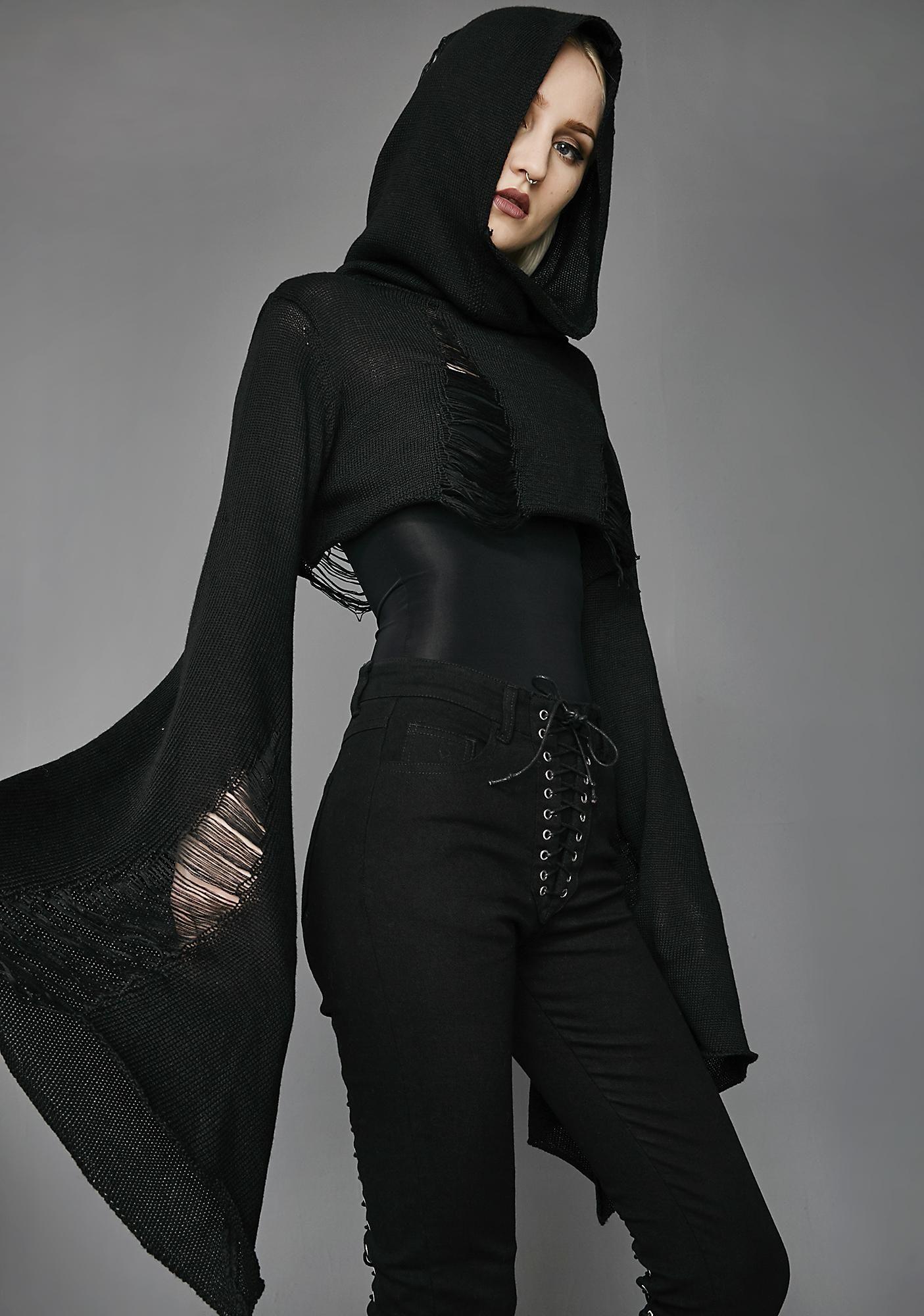 Free fast shipping on widow darkest hour crop sweater at dolls kill