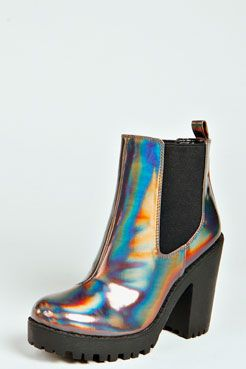 Izzy Holographic Cleated Sole Pull On Boot at boohoo.com $80AUD #fashion #shoes