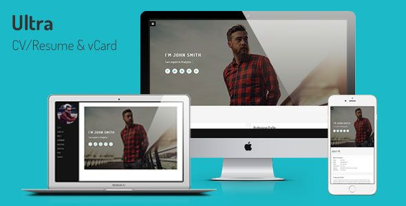 Ultra - Personal CV/Resume & vCard Template | Resume cv, Template ...