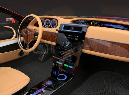 Car Dashboard Stylish Electric Car Interior With Luxury Wood