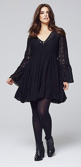 8f4e263985336 Pretty Boho Goth Plus-Size Lace-Panel Bell-Sleeve Dress Rose Gal ...