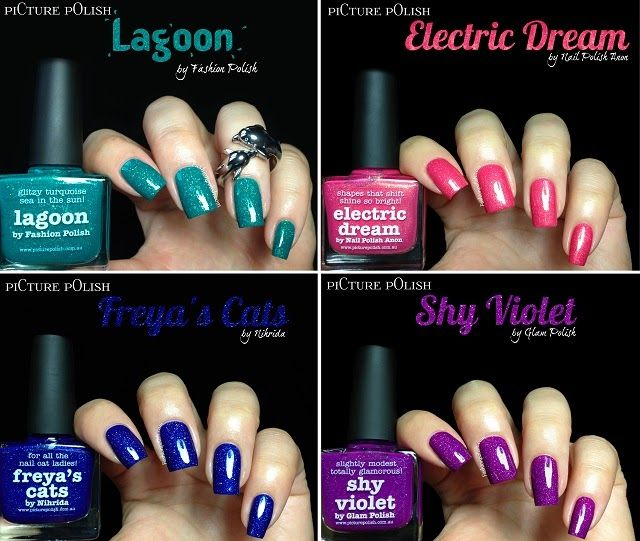 piCture pOlish newest collaborations : Lagoon by Fashion Polish (aka me!), Electric Dream by Nail Polish Anon, Freya's Cats by Nihrida and Shy Violet by Glam Polish