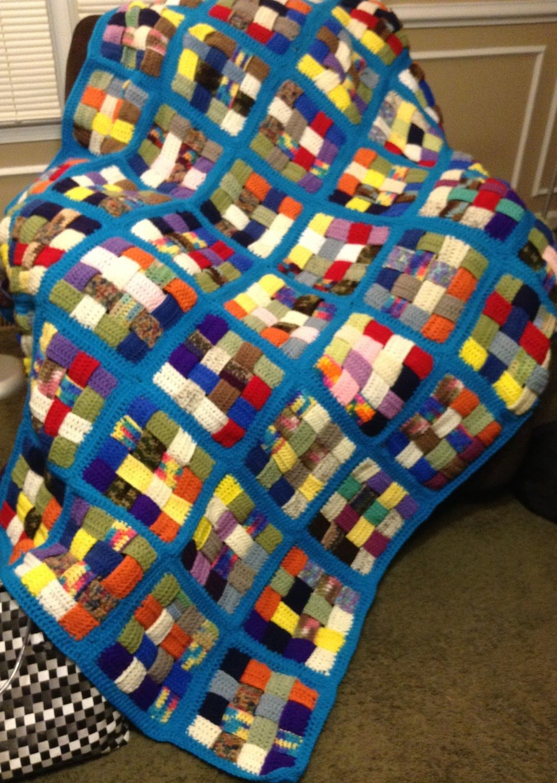 A simple country gal blanket made using scrap yarn crochet she gives good basic general instructions of how she made this starting with crocheting short strips which is a great way to bankloansurffo Choice Image