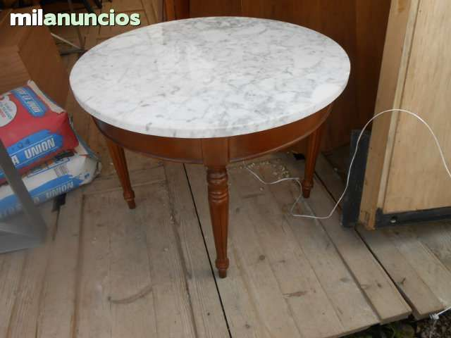 Mesa centro de madera maciza con marmol foto 1 mesas - Como restaurar una mesa de madera ...