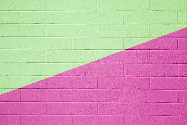 brick wall painted pink and green background full frame | scream ...