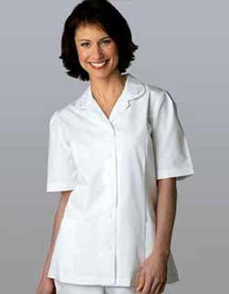 Women Scrubs White Embroidered Collar Nurse Top #NursingUniforms