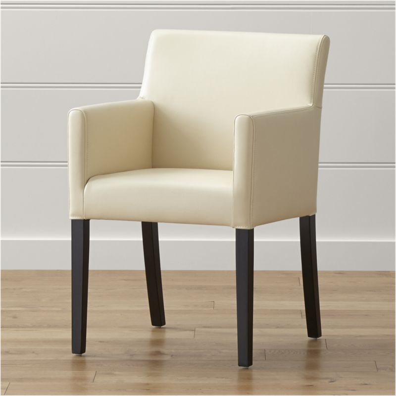 Shop Lowe Ivory Leather Dining Arm Chair The Perfect Partner To A