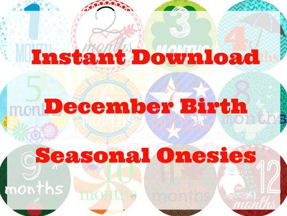 INSTANT DOWNLOAD - Monthly Onesie Stickers - Seasonal DECEMBER Baby