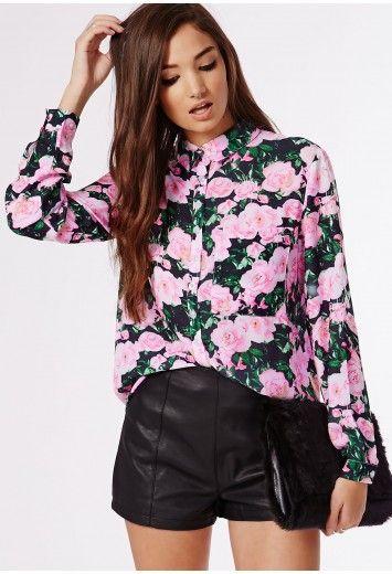 cfb84258e7 Missguided - Rosalanna Floral Print Boyfriend Shirt