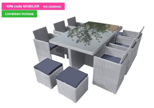 Salon de jardin PORTO 10 personnes DCB - Auchan | Meubles pas Cher ...