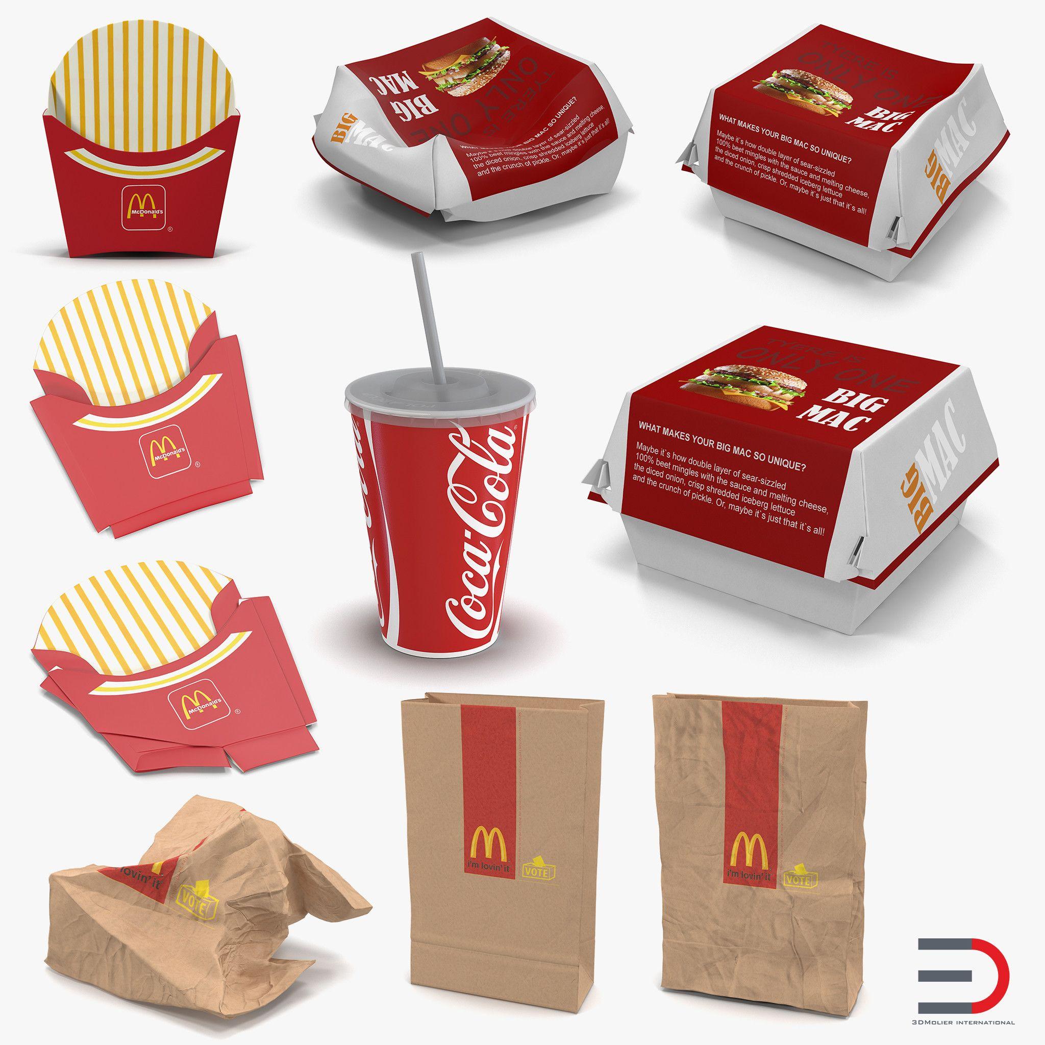 3d Mcdonalds Packaging Collection 2 Model Mcdonalds 3d Model Burger Box
