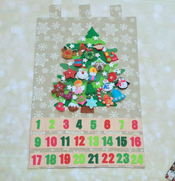 Christmas Advent Calendar Countdown Religious Felt Ornaments Decoration With Pockets