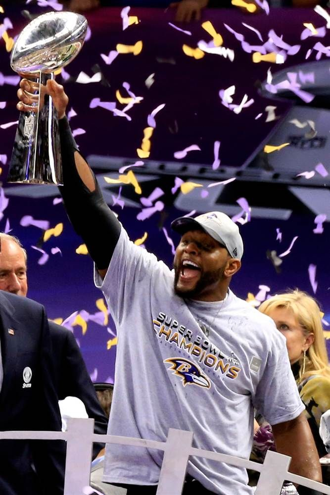 370740721ce Ray Lewis of the Baltimore Ravens holds up the Vince Lombardi Trophy  following their 34-31 win against the San Francisco 49ers during Super Bowl  XLVII at ...
